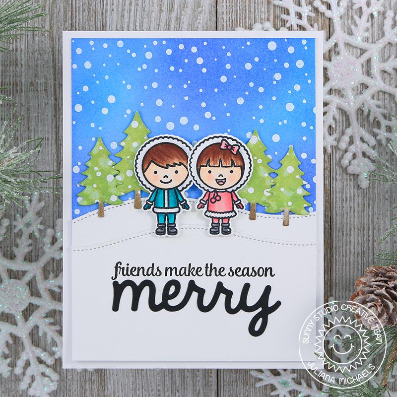 Sunny Studio Stamps Eskimo Kisses Girl & Boy Snowy Christmas Card by Juliana Michaels
