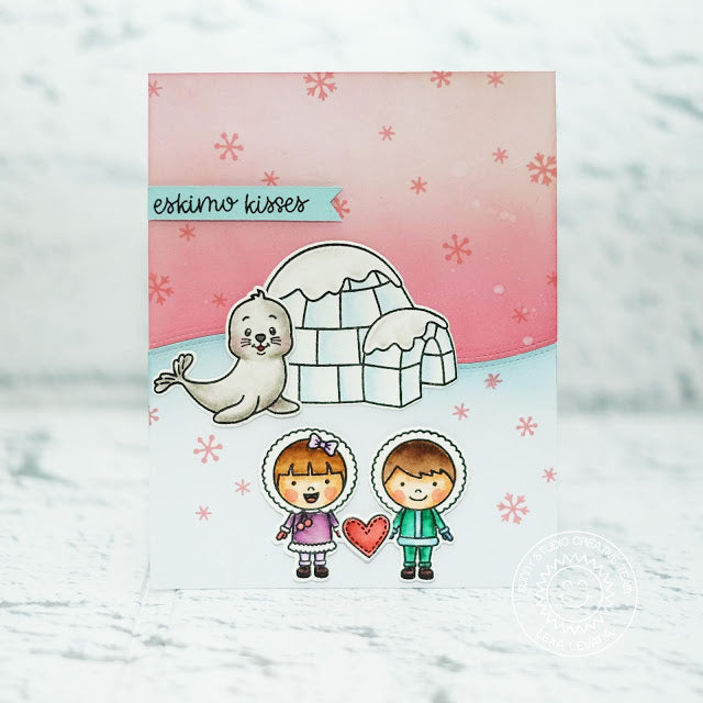 Sunny Studio Stamps Eskimo Kisses & Polar Playmates Boy & Girl with Igloo & Seal Card