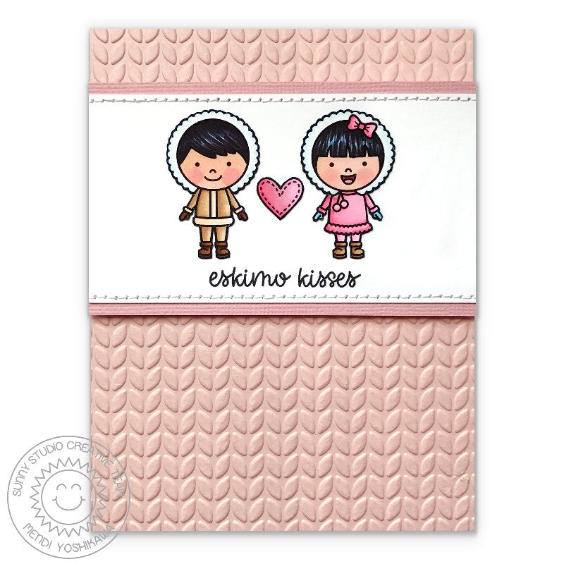 Sunny Studio Stamps Eskimo Kisses Girl & Boy Pink Cable Knit Card