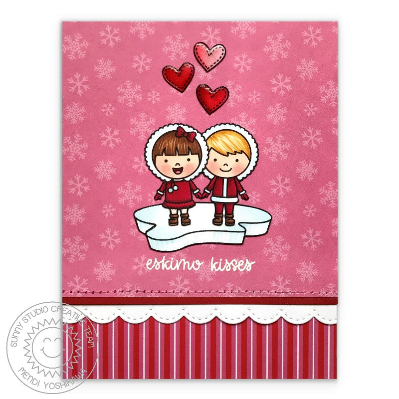 Sunny Studio Stamps Eskimo Kisses Pink & Red Love Themed Winter Card