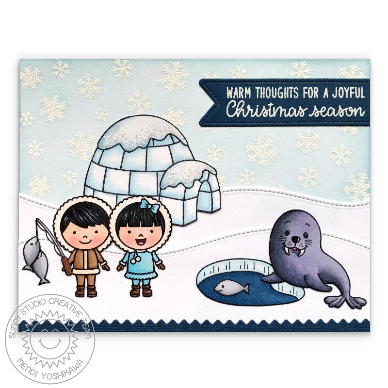 Sunny Studio Stamps Eskimo Kisses Arctic Igloo & Walrus Card