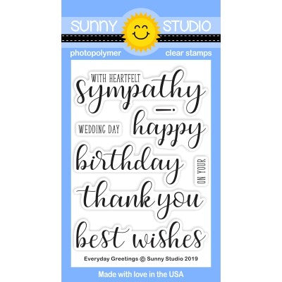 Sunny Studio Stamps Everyday Greetings All Occasion 3x4 Photopolymer Clear Sentiment Stamp Set