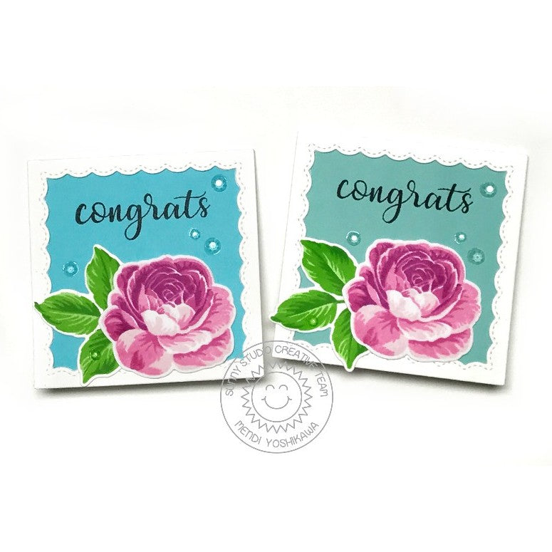 Sunny Studio Stamps Everything Rosy Layered Rose Congrats Mini Wedding Gift Card Enclosure (featuring Crystal Clear Jewels)