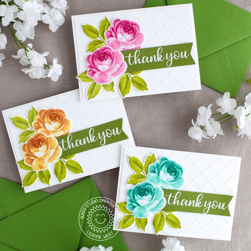 Sunny Studio Stamps Embossed Layered Roses Thank You Cards (using Quilted Hearts 6x6 Embossing Folder)