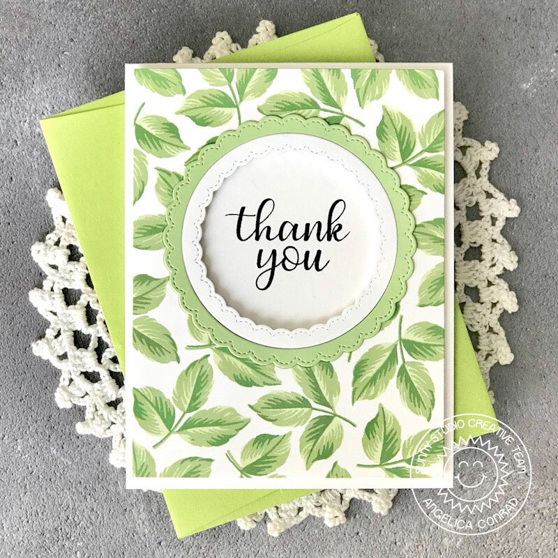 Sunny Studio Stamps Everything's Rosy Layered Leaves Thank You Card