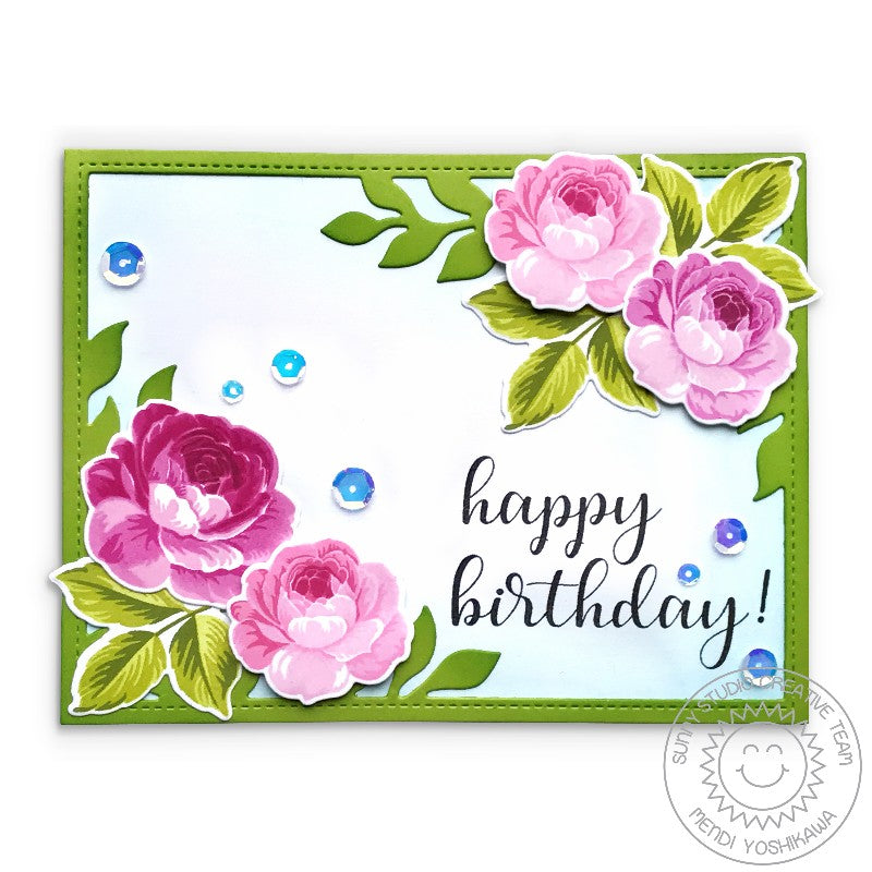 Sunny Studio Stamps Rose Birthday Card (using Botanical Backdrop with stitched leafy frame)