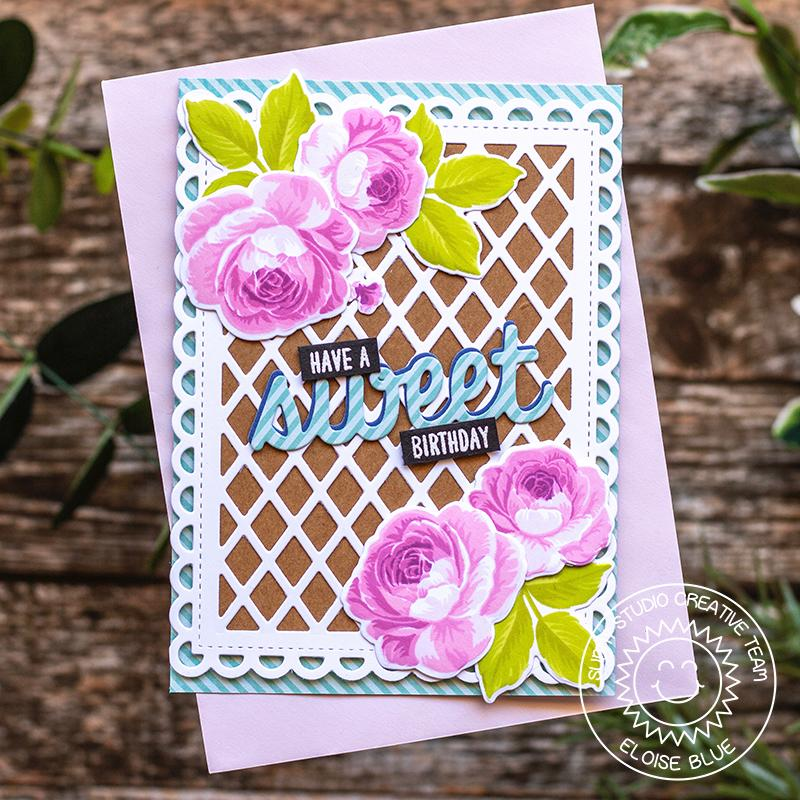 Sunny Studio Stamps Everything's Rosy Layered Pink Rose Card with Kraft & Lattice Background