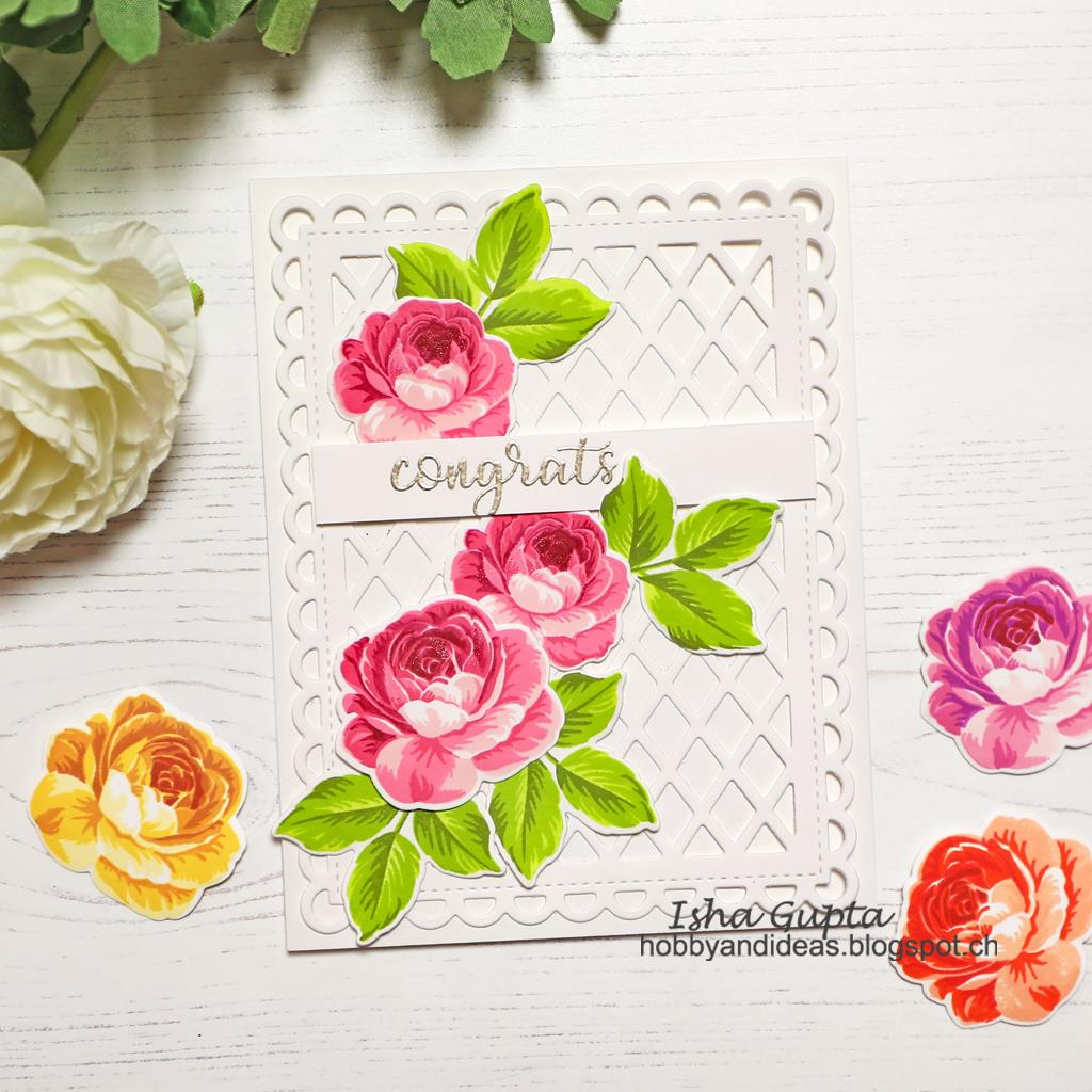Sunny Studio Stamps Pink Rose Congrats Wedding Card (using Frilly Frames Lattice Dies)