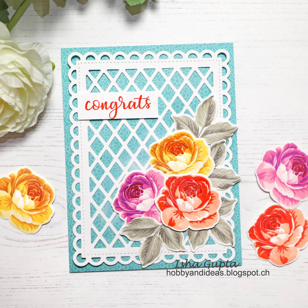 Sunny Studio Stamps Everything's Rosy Congrats Rose Wedding Card using Color Layering Stamps