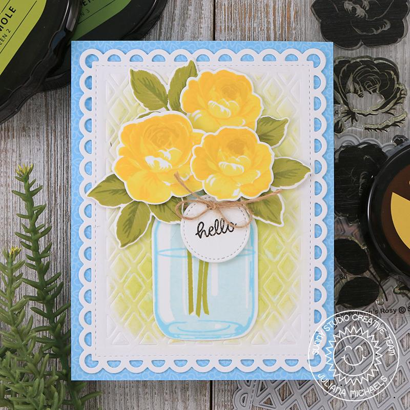Sunny Studio Stamps Everything's Rosy Layered Yellow & Blue Rose Thinking of You Card