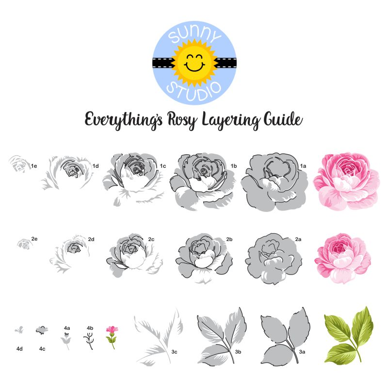 Sunny Studio Stamps Everything's Rosy Rose Layering Stamp Guide