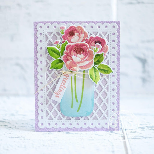 Sunny Studio Rose Bouquet in Mason Jar Greetings Card (using Frilly Frames Lattice Dies)