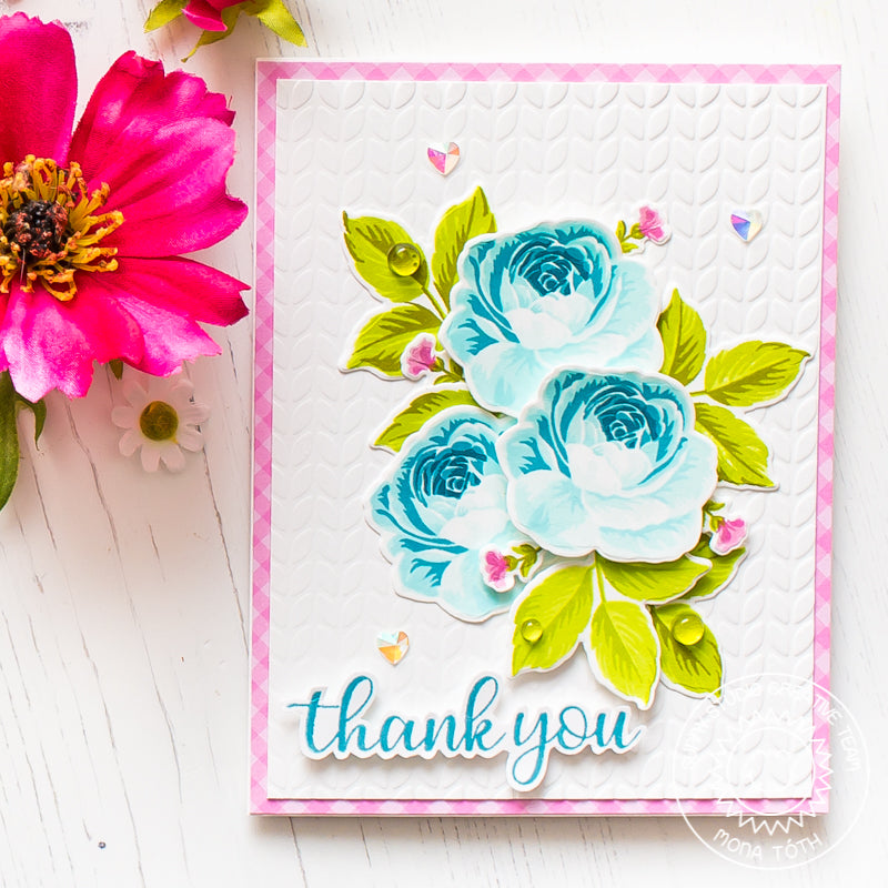 Sunny Studio Stamps Everything Rosy Blue Layered Rose Handmade Card by Mona Toth
