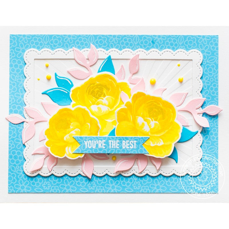 Sunny Studio Stamps Everything Rosy Yellow Layered Rose Handmade Card by Mona Toth
