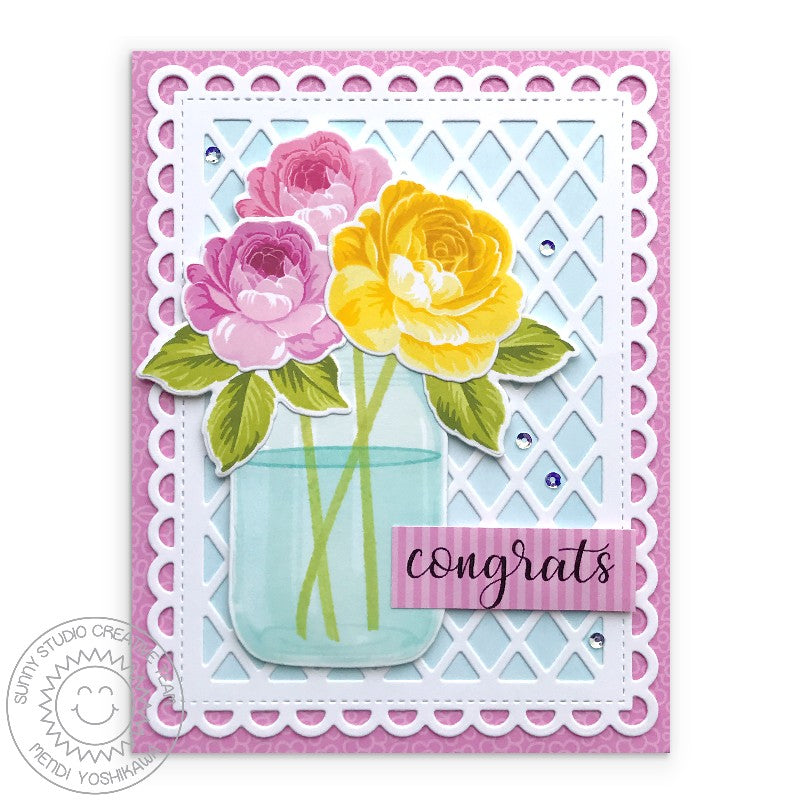 Sunny Studio Stamps Pink Rose Congratulations Card with Lacey Scalloped Mat (using Frilly Frames Lattice Dies)