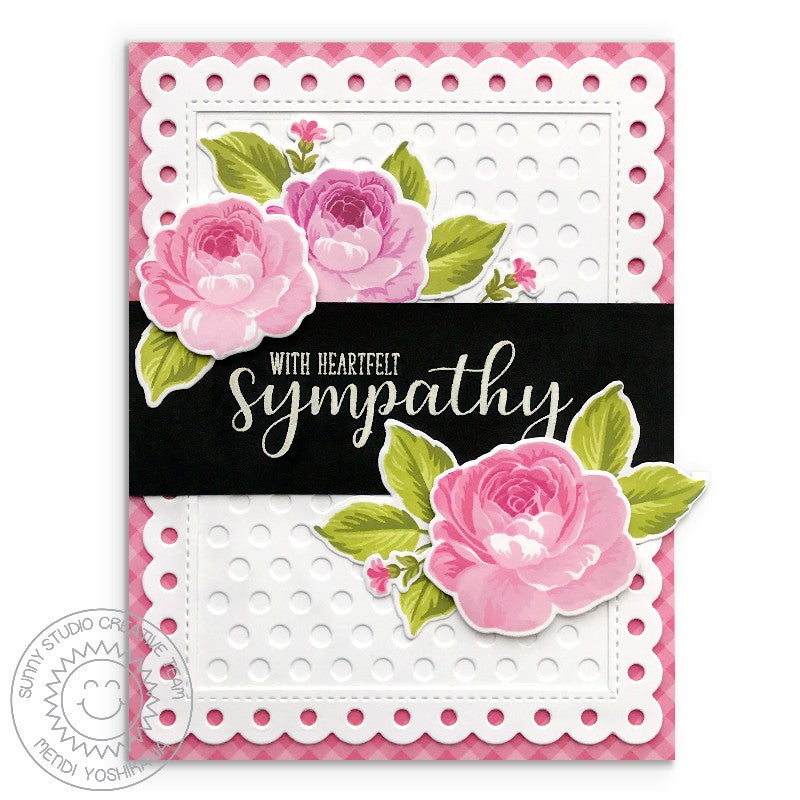 Sunny Studio Pink, Black & White Rose Heartfelt Sympathy Card (using Everyday Greetings Stamps)