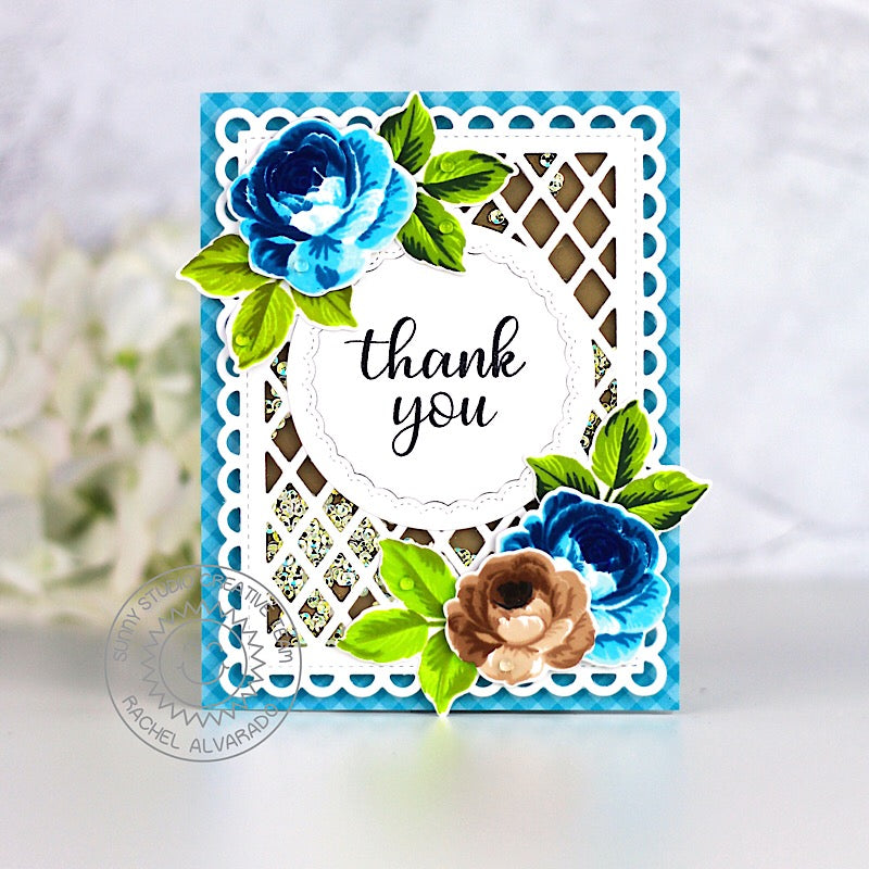 Sunny Studio Blue Layered Rose Shaker Card (using Frilly Frames Lattice Dies)