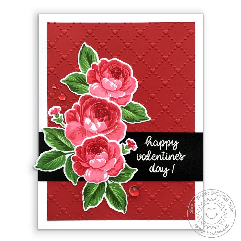 Sunny Studio Stamps Red Rose Valentine's Day Card (using Quilted Hearts Embossing Folder)