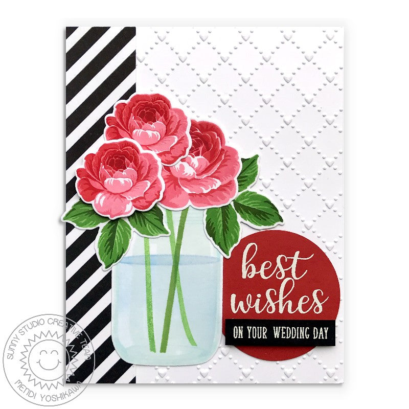"Sunny Studio Everything's Rosy Layered Rose Floral ""Best Wishes On Your Wedding Day"" Card (using Vintage Jar Stamps)"