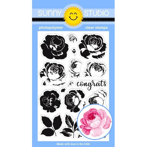 Sunny Studio Stamps Everything's Rosy 4x6 Photopolymer Clear Layered Rose Layering Stamp Set