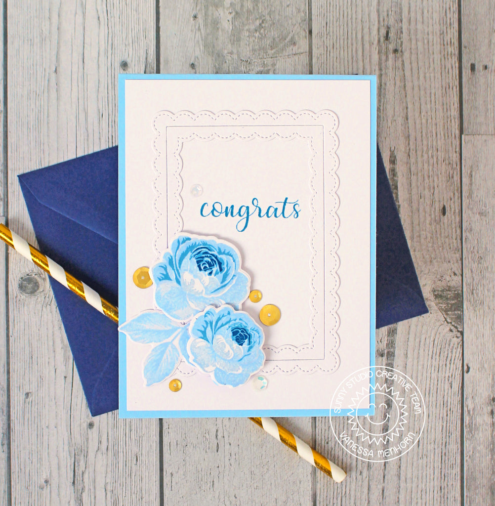 Sunny Studio Stamps Everything's Rosy Blue Layered Rose Card