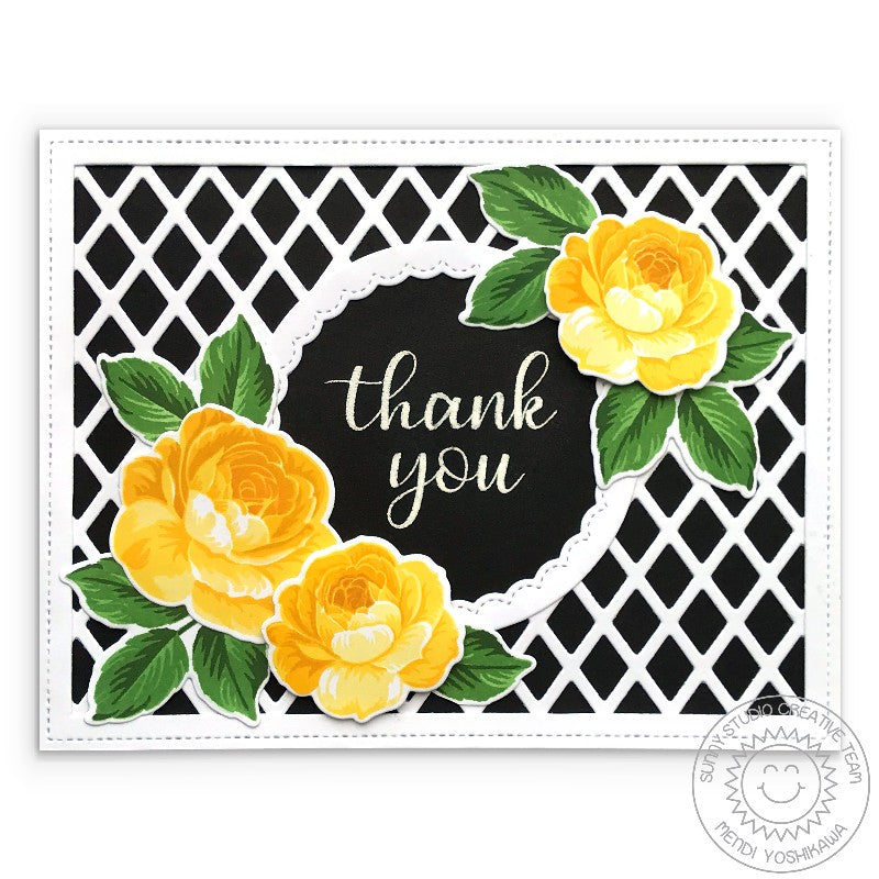Sunny Studio Stamps Black & White with Yellow Layered Roses Thank You Card (using Frilly Frames Lattice Dies)
