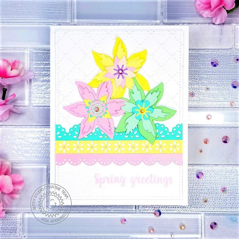 Sunny Studio Stamps Spring Greetings Pastel Floral Flower Handmade Card (using scalloped Eyelet Lace Border Metal Cutting Dies)
