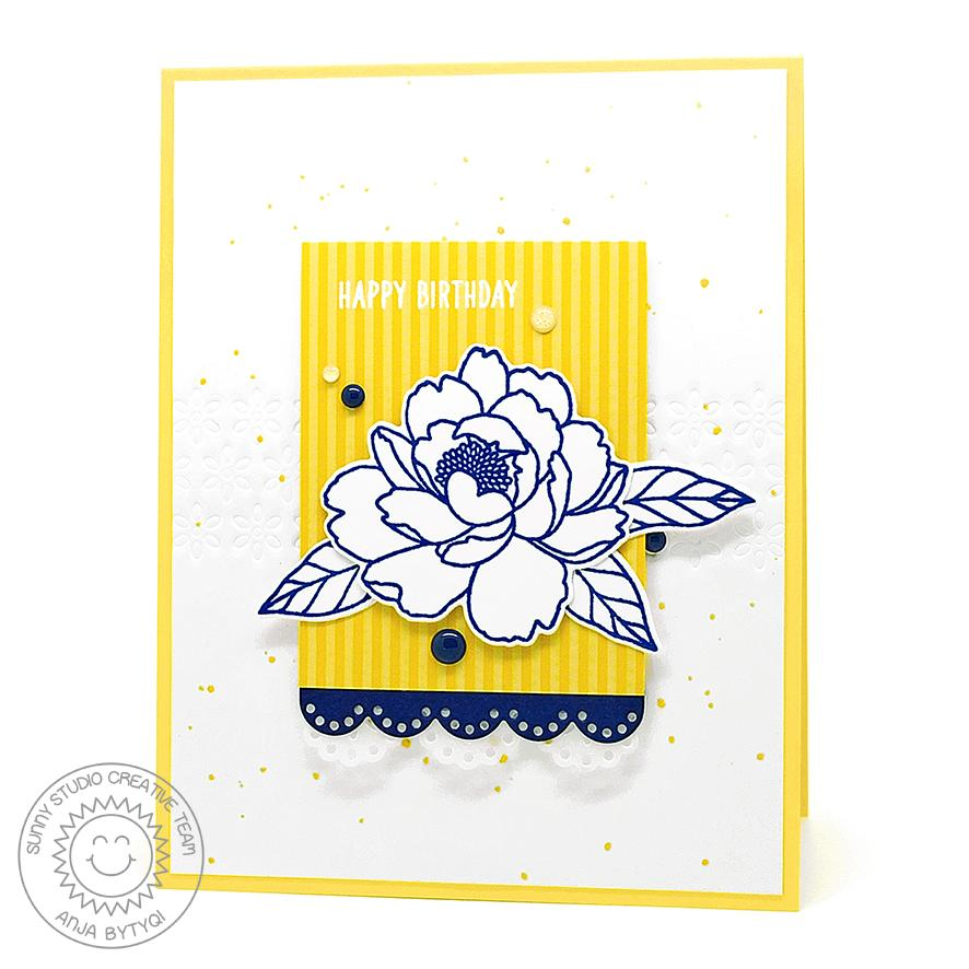 Sunny Studio Stamps Yellow, White & Navy Scalloped Handmade Peony Card (using Eyelet Lace Border Cutting Dies)