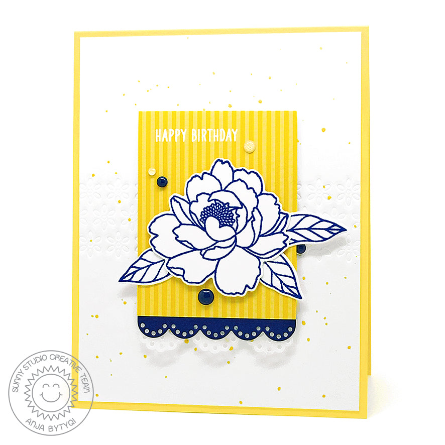 Sunny Studio Stamps Yellow, White & Navy Peony Handmade Spring Birthday Card (using Pink Peonies 4x6 Clear Stamps)