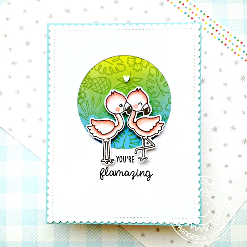 Sunny Studio Stamps You're Flamazing Flamingos with Circle Window Handmade Card (using Fabulous Flamingos 4x6 Clear Photopolymer Stamp Set)