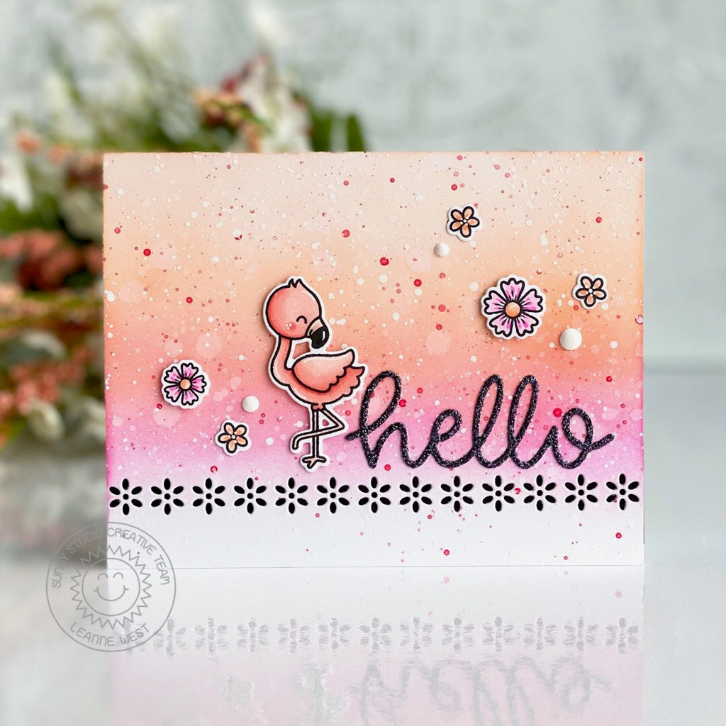 Sunny Studio Stamps Paint Speckled Handmade Hello Card (using Fabulous Flamingos 4x6 Clear Photopolymer Stamp Set)