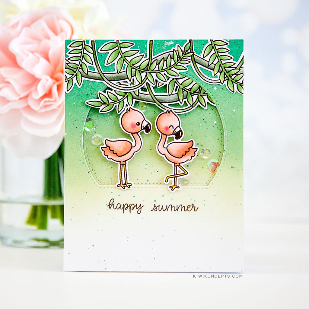 Sunny Studio Stamps Happy Summer Coral & Green Handmade Card by Keeway Tsao (using Fabulous Flamingos 4x6 Clear Photopolymer Stamp Set)