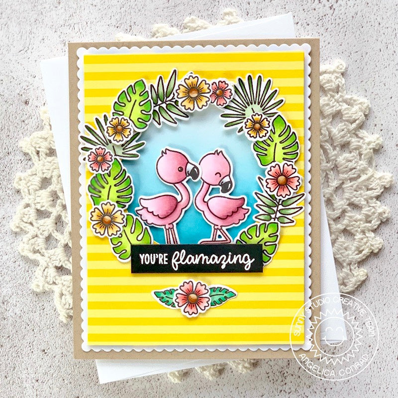 Sunny Studio Stamps You're Flamazing Yellow Striped Beach Themed Flamingo Card (using Summer Splash 6x6 Patterned Paper)