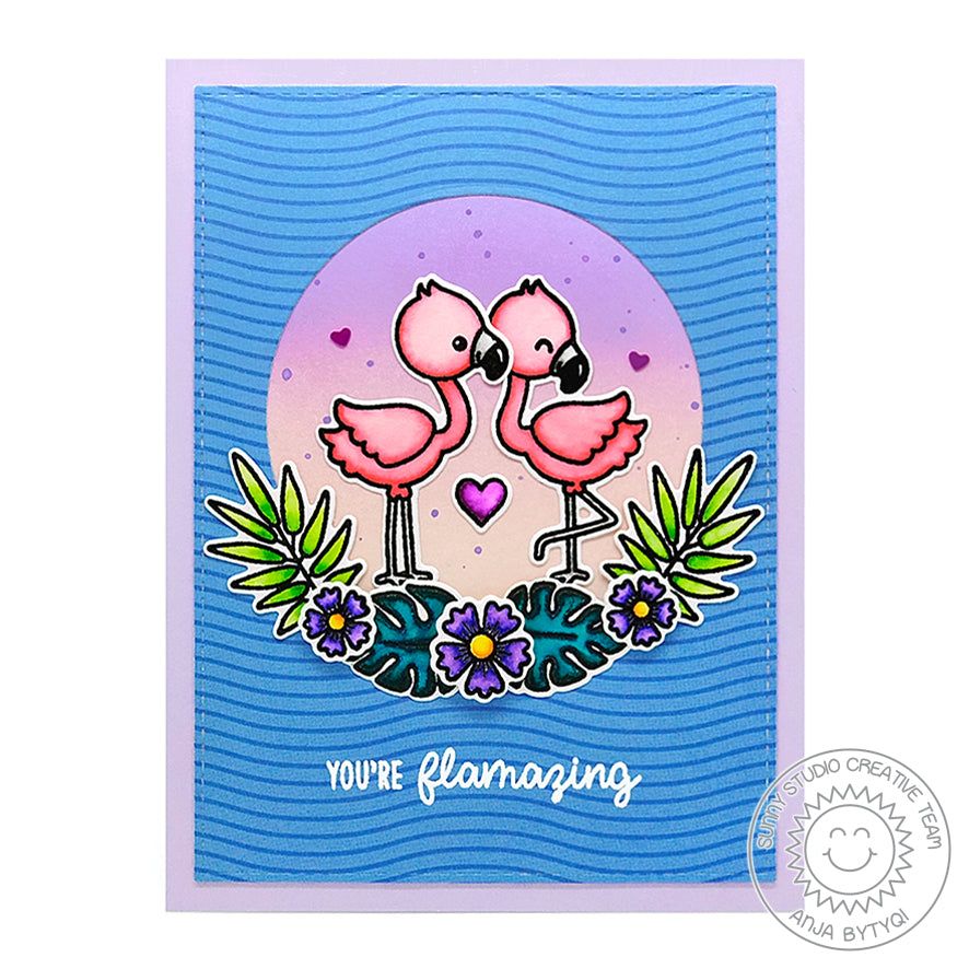 Sunny Studio Stamps Fabulous Flamingos You're Flamazing Lavender & Blue Card by Anja