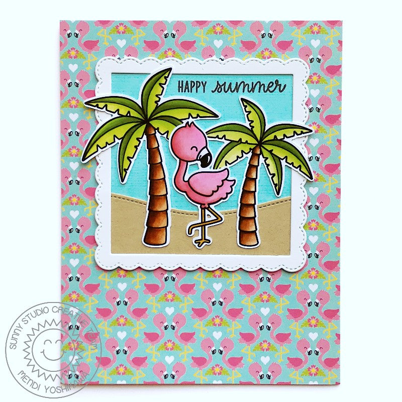 Sunny Studio Stamps Flamingo Card (using Summer Splash 6x6 Patterned Paper Pack)