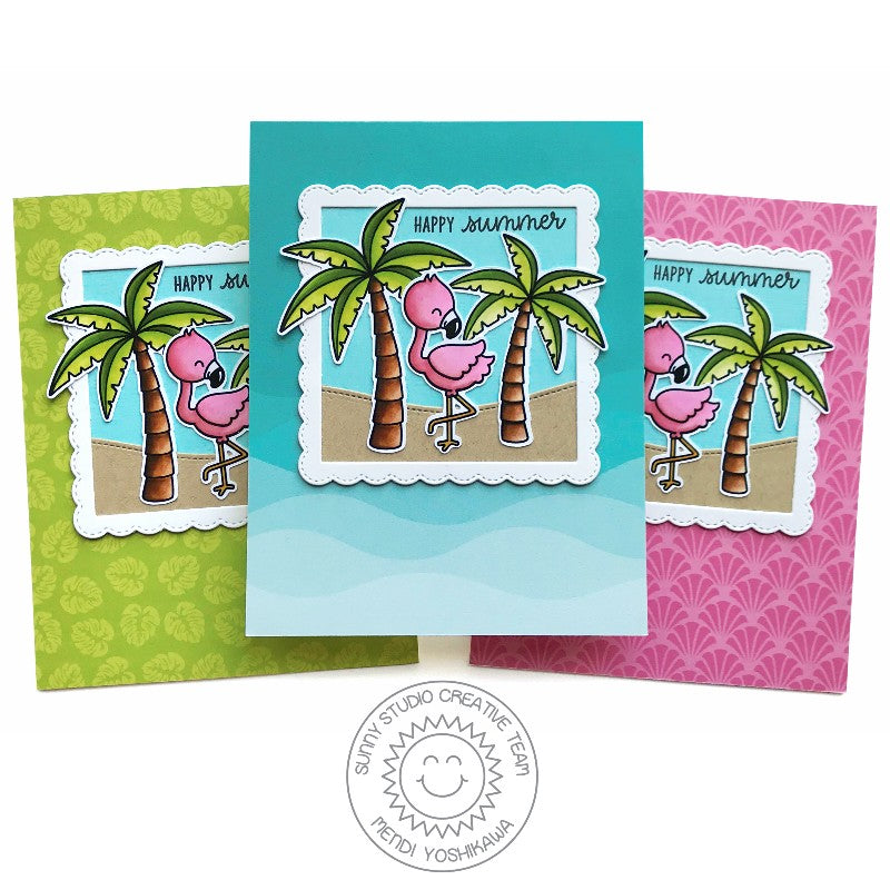 Sunny Studio Stamps Seasonal Trees Happy Summer Palm Tree Card Set by Mendi Yoshikawa