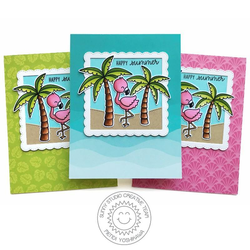 Sunny Studio Stamps Sending Sunshine Happy Summer Palm Trees with Flamingo Card Set