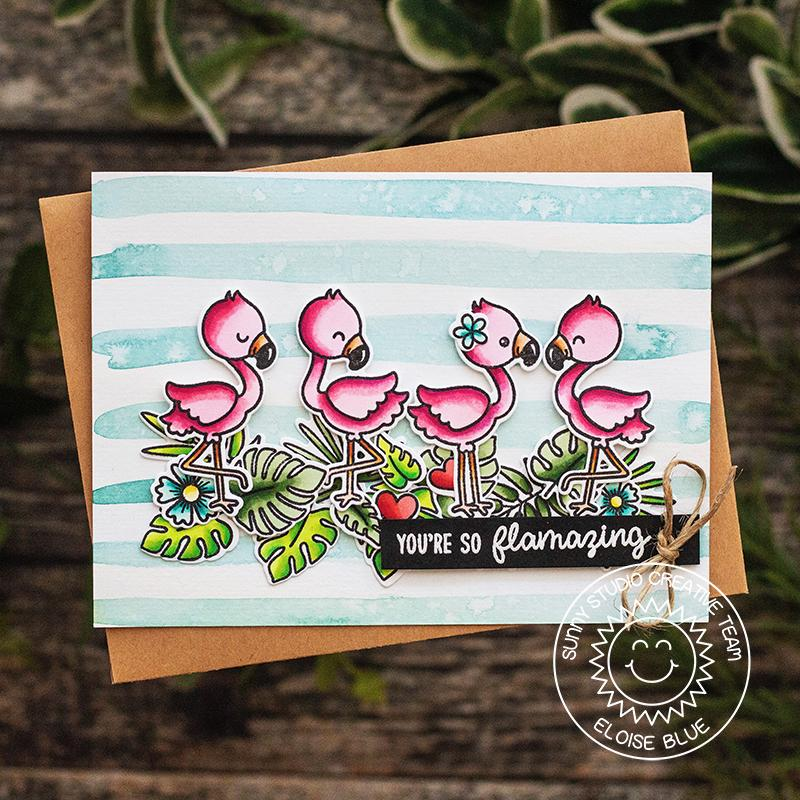 Sunny Studio Stamps Fabulous Flamingos Watercolor Striped Pink & Aqua Summer Flamazing Card by Eloise Blue