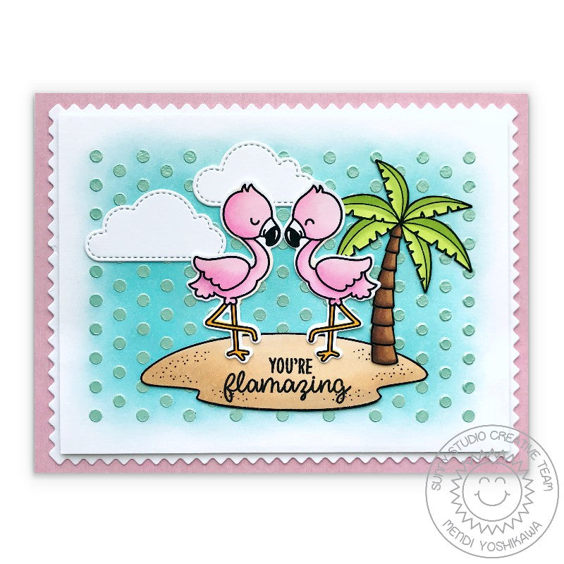 Sunny Studio Stamps You're Flamazing Flamingo Card (using Fluffy Clouds Dies)