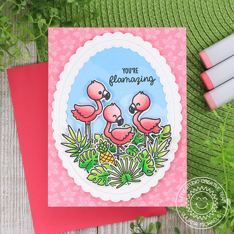 Sunny Studio Stamps Fabulous Flamingos Flamazing Oval Pink Flamingo Trio Card