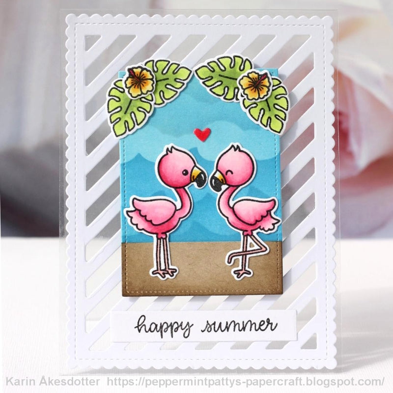 Sunny Studio Stamps Fabulous Flamingo Clear Summer Card (featuring Frilly Frames Striped Stripes die)