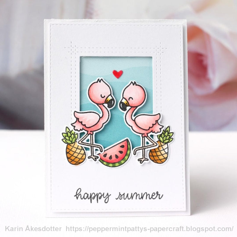 Sunny Studio Stamps Fabulous Flamingos You're Flamazing Pineapple & Watermelon Clean & Simple CAS Card by Karin