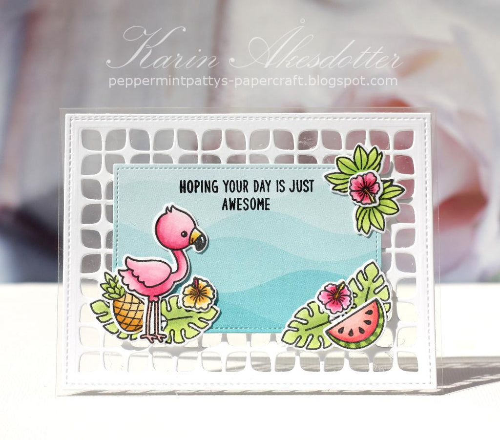 Sunny Studio Stamps Fabulous Flamingos Clear Card (using Frilly Frames Retro Petals Die)