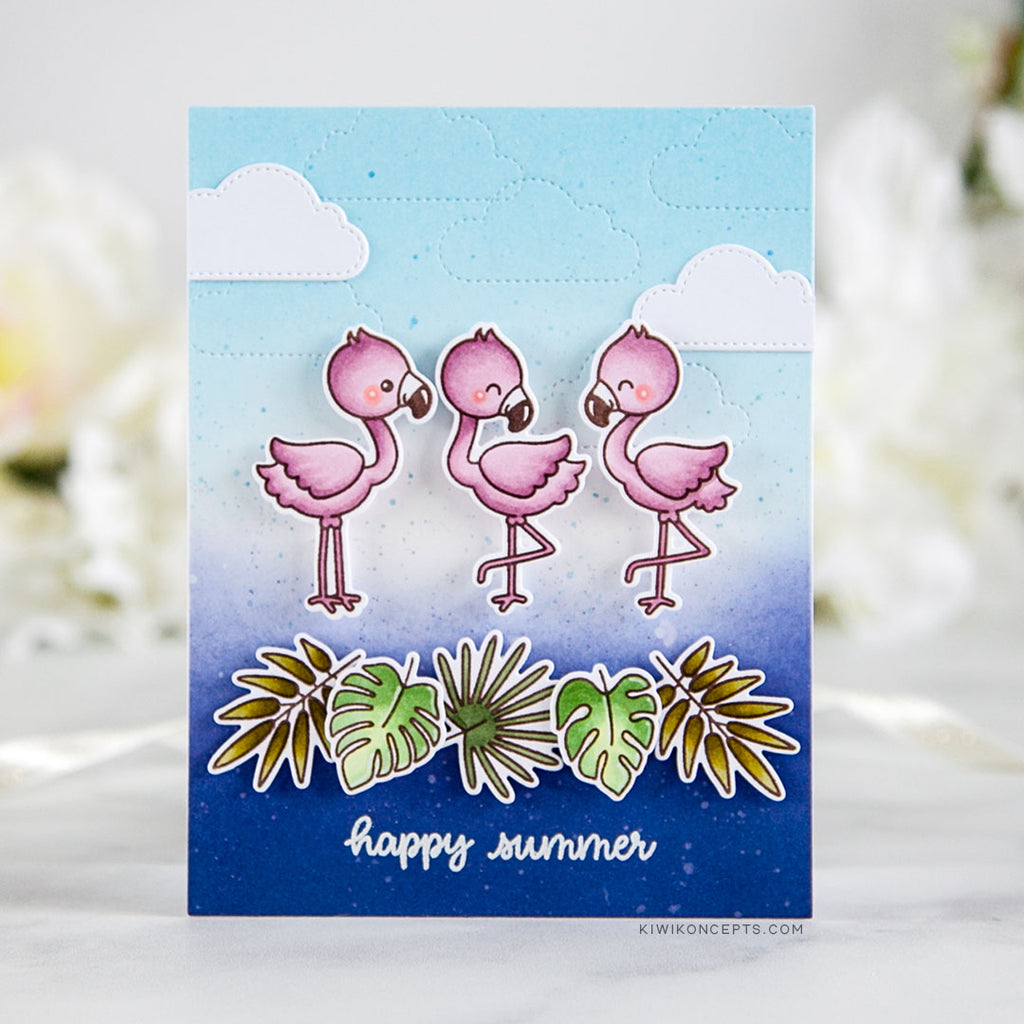 Sunny Studio Stamps Flamingo Happy Summer Card (using Fluffy Clouds Dies)