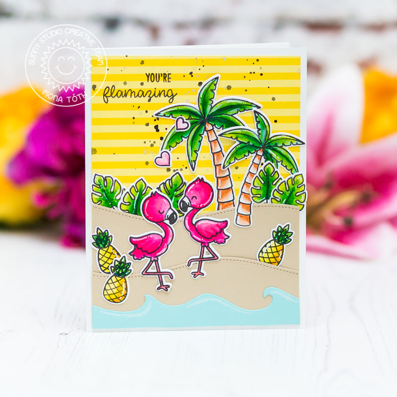 Sunny Studio Stamps You're Flamazing Flamingo Summer Card (using Catch A Wave Border Dies)