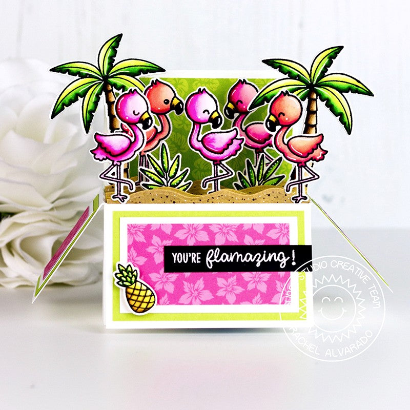 Sunny Studio Stamps Fabulous Flamingos You're Flamazing Interactive Pop-up Box Card by Rachel (using palm tree from Seasonal Trees set)