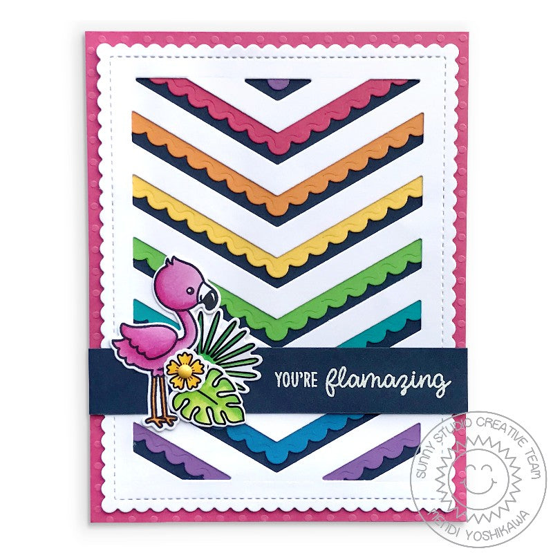 Sunny Studio Stamps Rainbow Scalloped Chevron Summer Flamingo Card (using Frilly Frames & Fishtail Banner Dies)