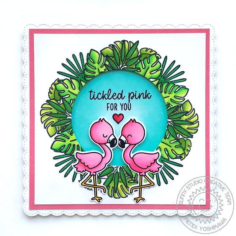 Sunny Studio Stamps Fabulous Flamingos Tickled Pink For You Jungle Leaf Wreath Window Card