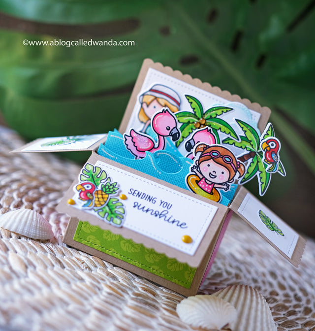 Sunny Studio Interactive Summer Beach Themed Pop-up Box Card (using Fabulous Flamingo Stamps)