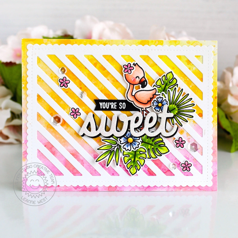 Sunny Studio Stamps You're So Sweet Pink & Yellow Ombre Striped Flamingo Card by Leanne West (using Sweet Word Script Die)